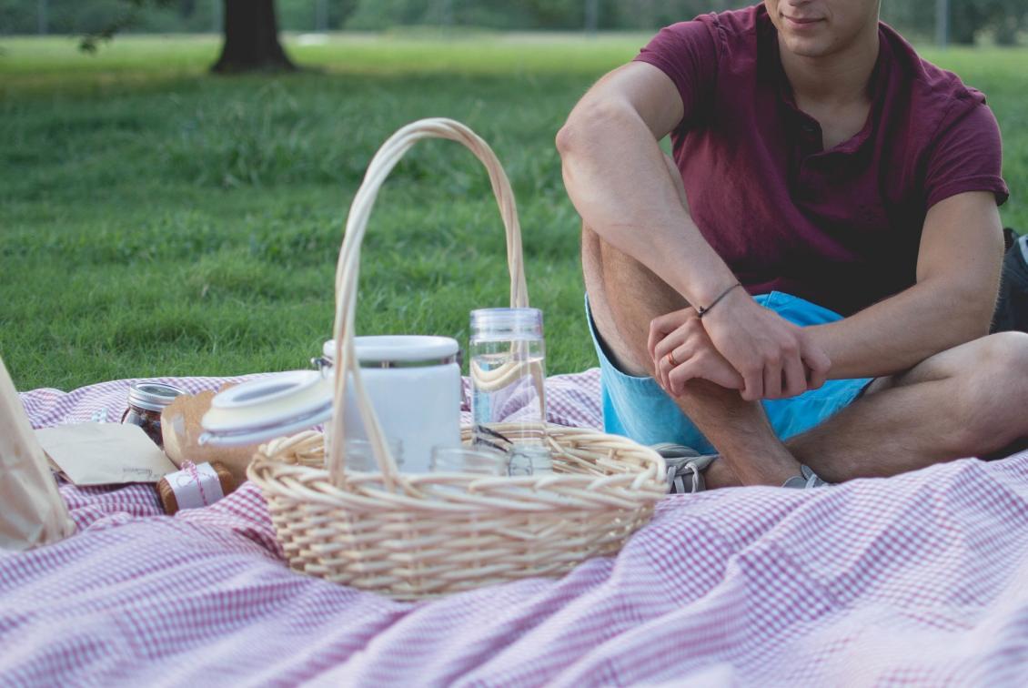 man having a summer picnic.