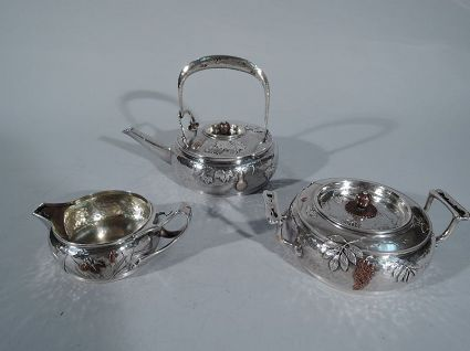 antique tiffany silver & mixed metal tea set