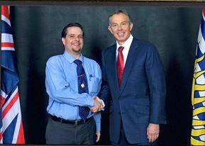 James of Kary Movers Ltd Edmonton Intl Div. With Former British PM, Tony Blair