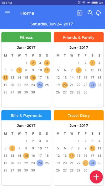 A calendar for each activity