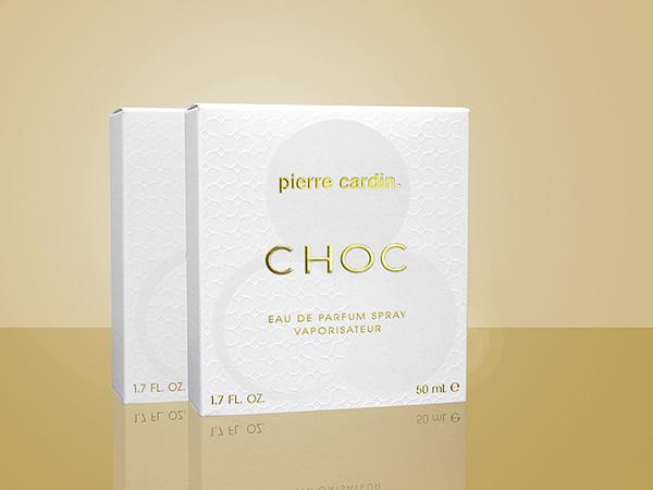 The Pierre Cardin Choc folding carton won a Gold Leaf Award