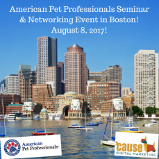 Boston! Seminar & Networking Event for Pet Professionals Aug. 8, 2017