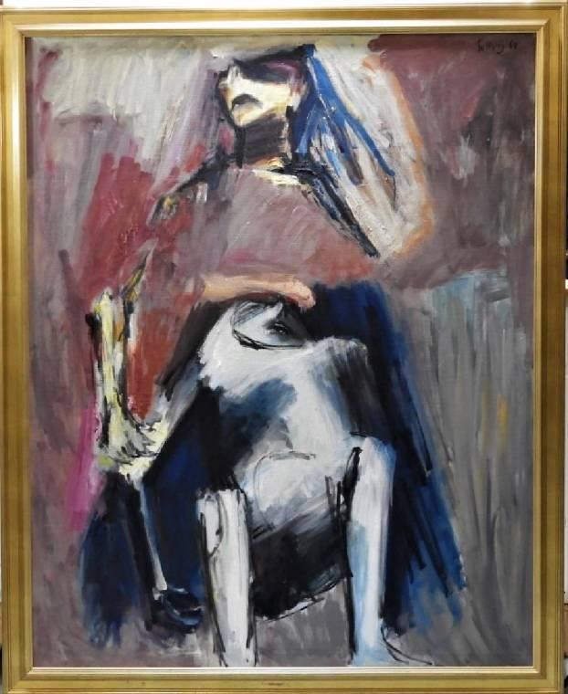 Expressionist rendering of the Pieta by Jurij Solovij (1921-2007) est. $2-$3,000