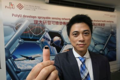 The sensors developed Professor Su can be sprayed directly on structures.