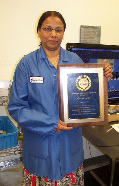 Guari Rana with her NJMET, Inc. 10 Year Service Plaque