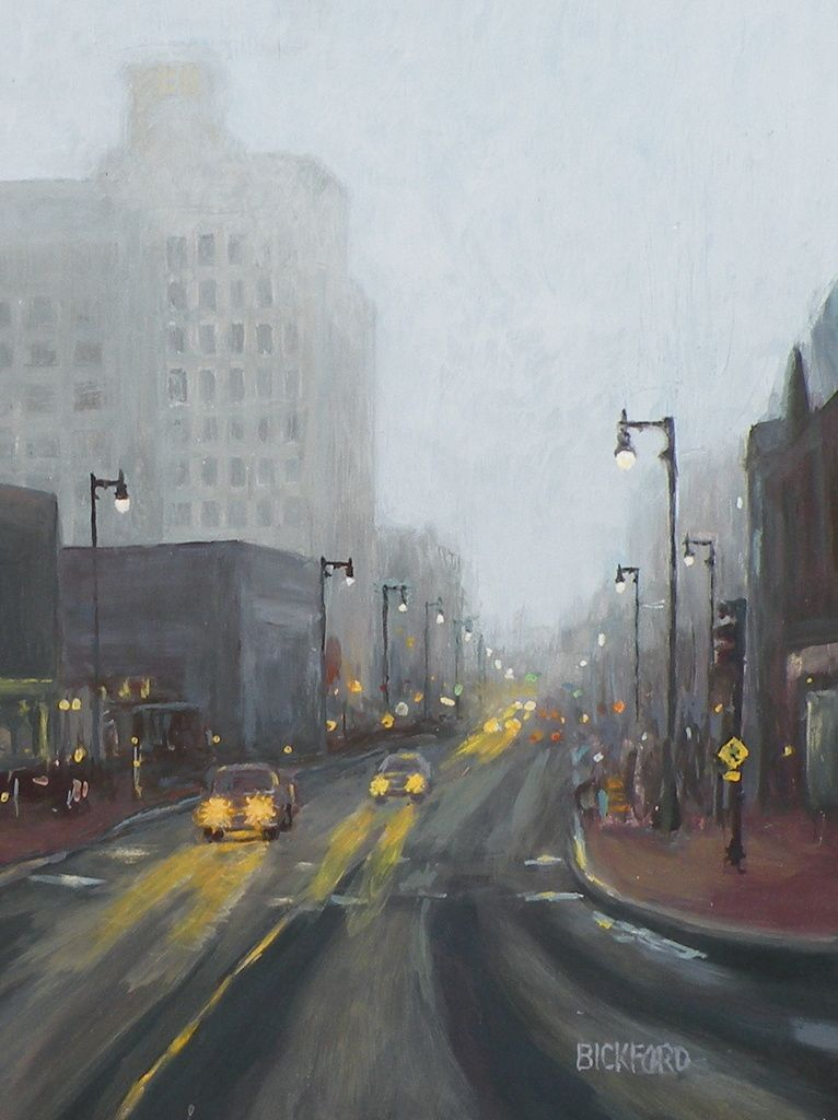 "Amy Bickford ~ ""Rainy Downtown Day"" ~ Gouache on Gesso Board 16"" x 12"""