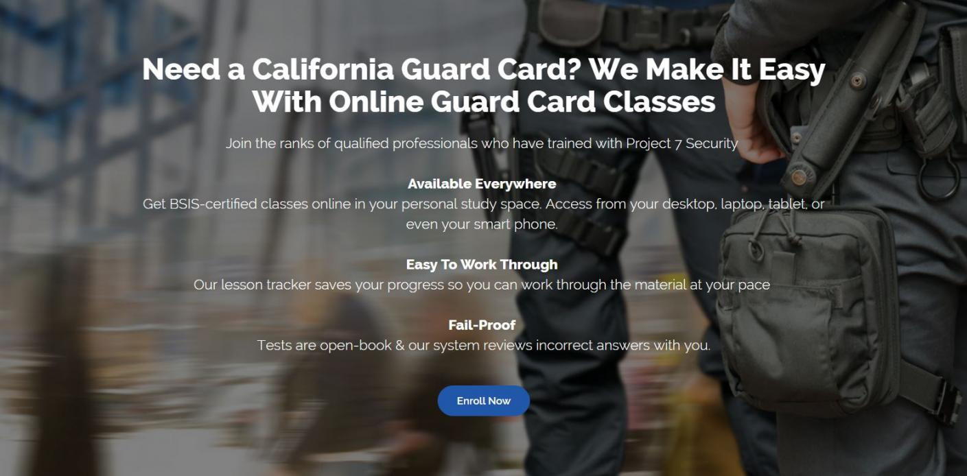 Online California Guard Card Training Service Project 7