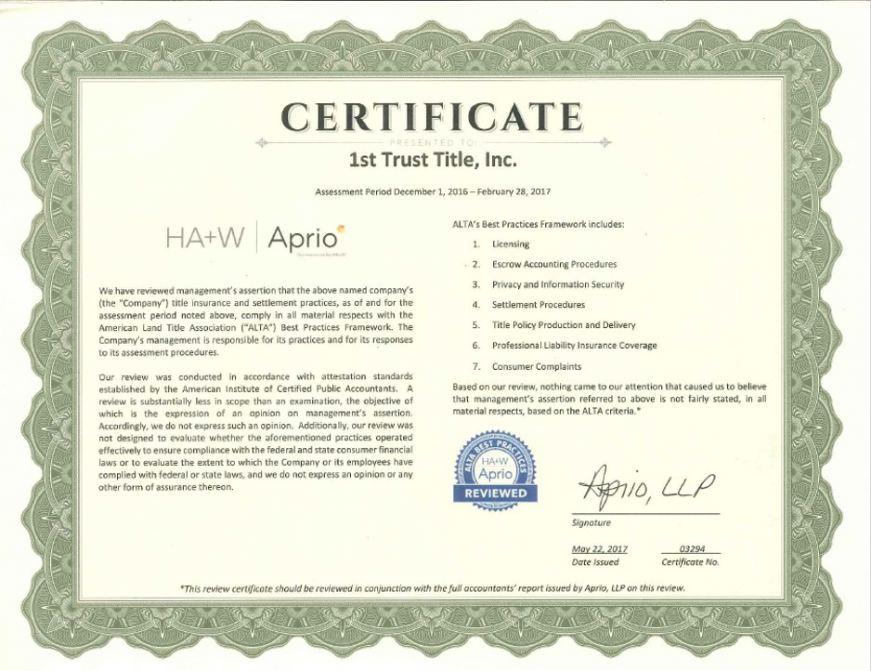 trust alta title 1st practices certificate awarded certification prlog