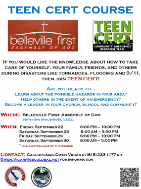 Mid America TEEN CERT course at Belleville First Assembly of God