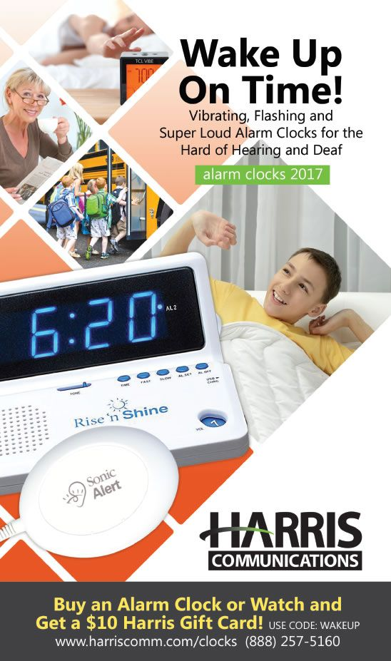 Alarm clocks for the deaf and hard of hearing featured in new brochure.