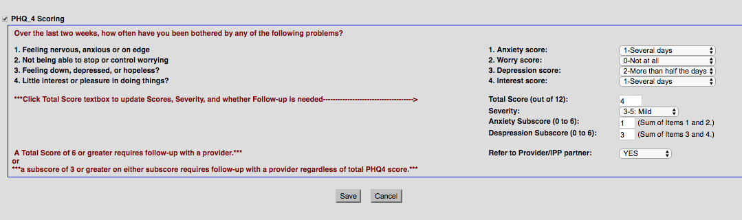 Patient Health Questionnaire - PHQ4 Form in OpenEMR
