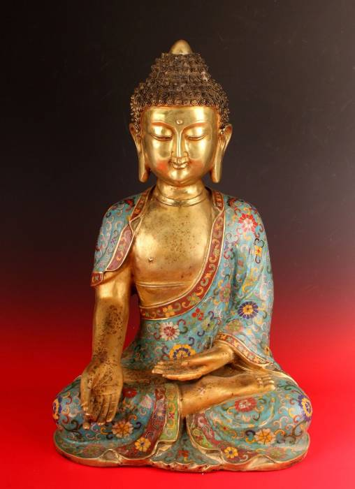 Gold gilt bronze and cloisonne Buddha, 11.25 inches tall (est. $1,000-$1,500).