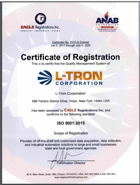 L-Tron Corporation receives ISO 9001: 2015 Certification