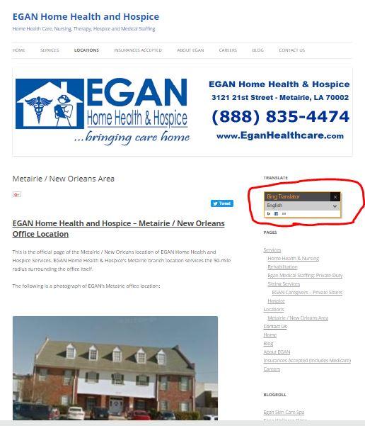 EGAN Home Health and Hospice Website