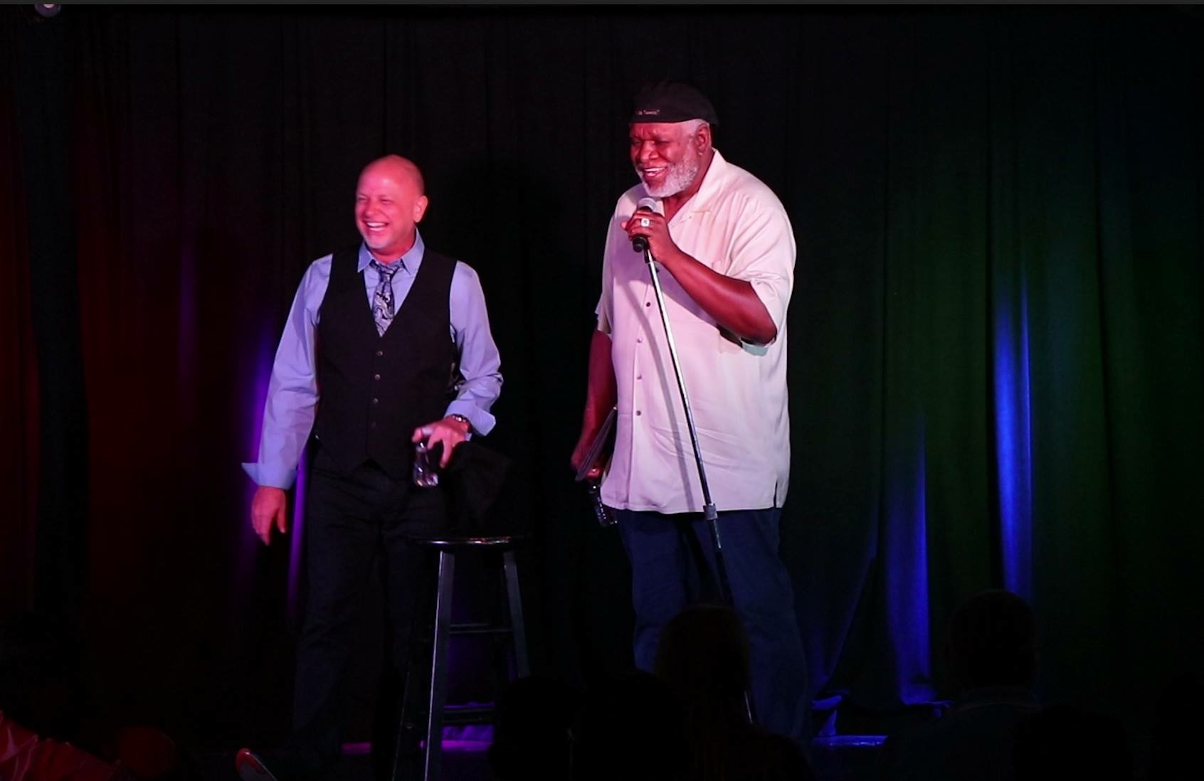 George Wallace and Don Barnhart share the stage at Jokesters Comedy Club