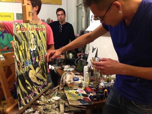 Alexey Stepanov painting model in studio, 2015.