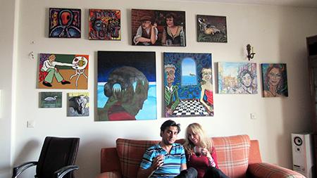 Stuckists Lapsking and Kari Seid with Stuckist paintings in 2016.