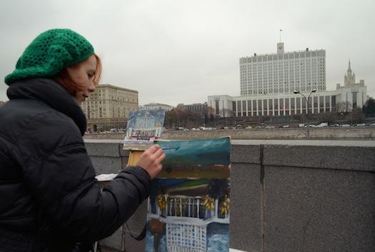 Ulanova paints Russian White House in 2015.