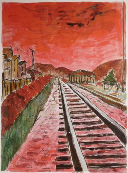 Limited edition print titled Train Tracks, signed and numbered by Bob Dylan.