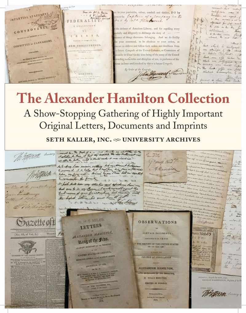The Alexander Hamilton Collection of documents is for sale, for $2.3 million.