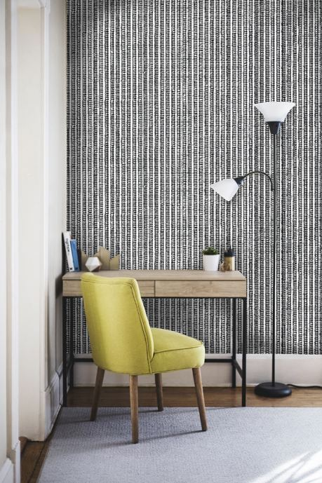 Black-White Grasscloth wallcovering
