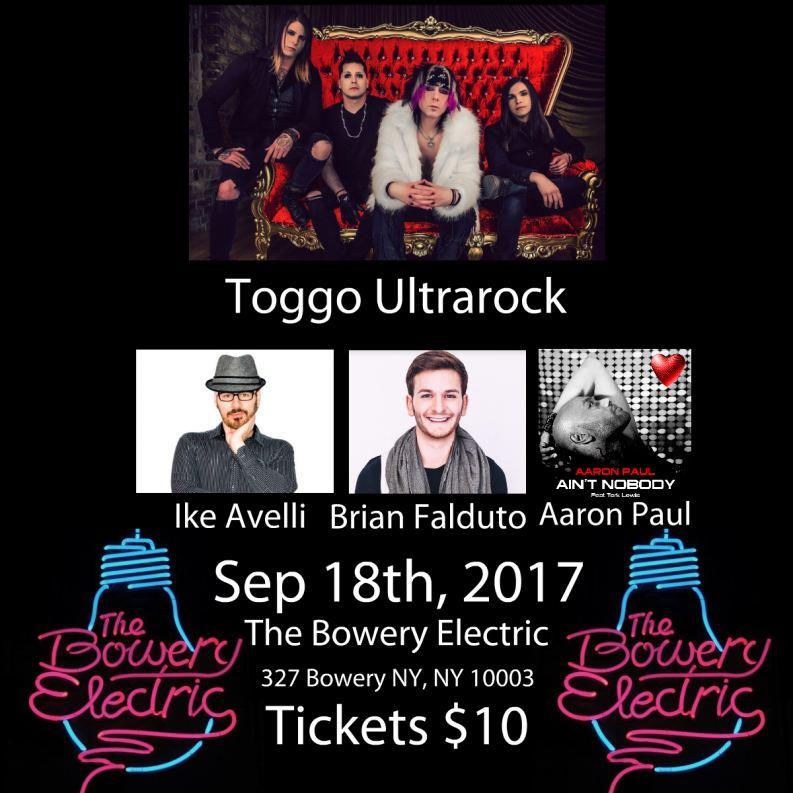 Toggo Ultrarock To Headline The Bowery Electric September 18th, 2017