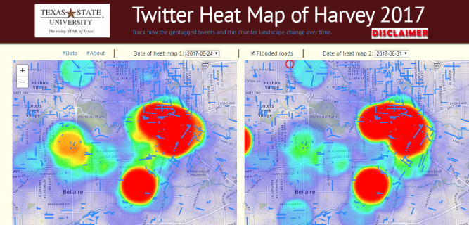 Twitter Heat Map by Texas State University