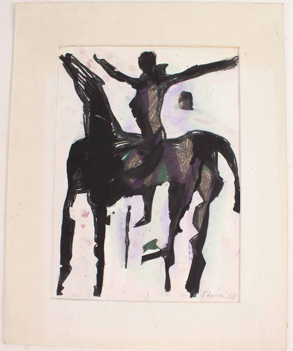 Watercolor painting by Marino Marini (It., 1901-1980), Abstract Equestrian Woman