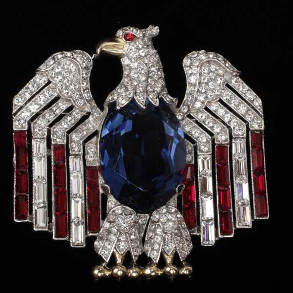 Trifari eagle with flag pin, from Trifari's patriotic series (est. $500-$750).