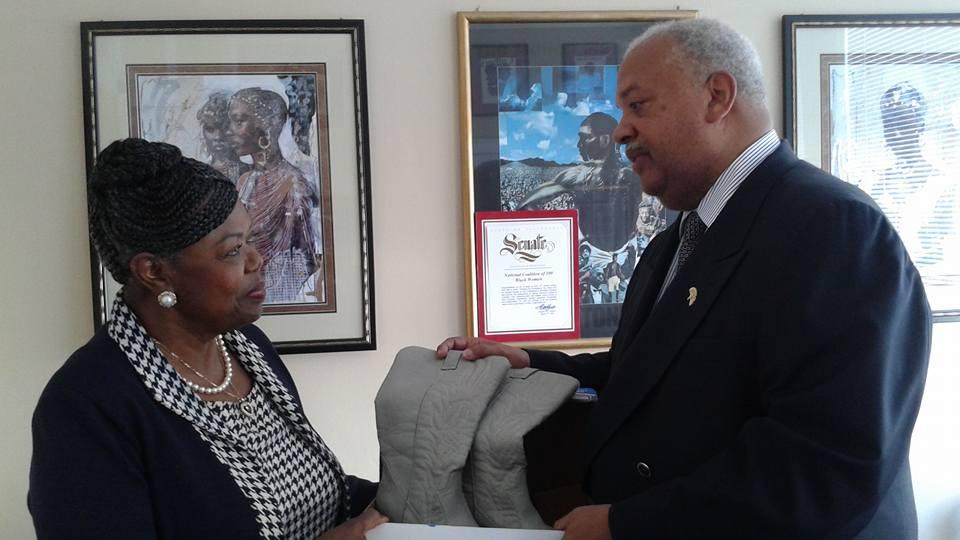 "Dr. Maxine Hickman & Rev. Gregg Brown Receive Greg Poulos' ""Shoes for Survivors"""
