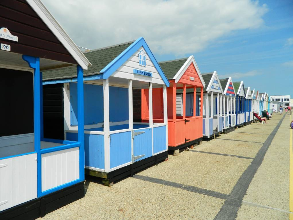 Beach huts at Southwold promenade.