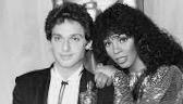 "Paul Jabara and Donna Summer with Oscar for Best Original Song, ""Last Dance."""