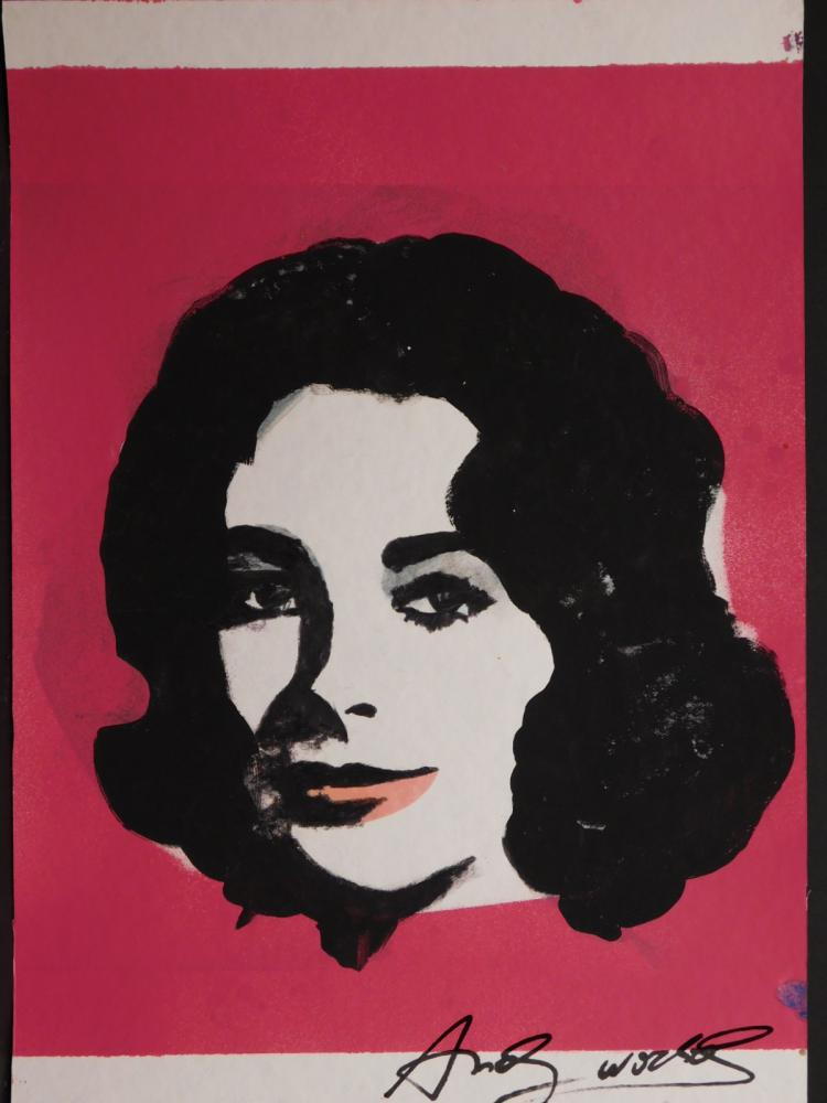 Mixed media painting of Elizabeth Taylor attributed to Andy Warhol (1928-1987).