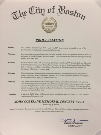 City of Boston's Proclamation honoring JCMC's 40th.