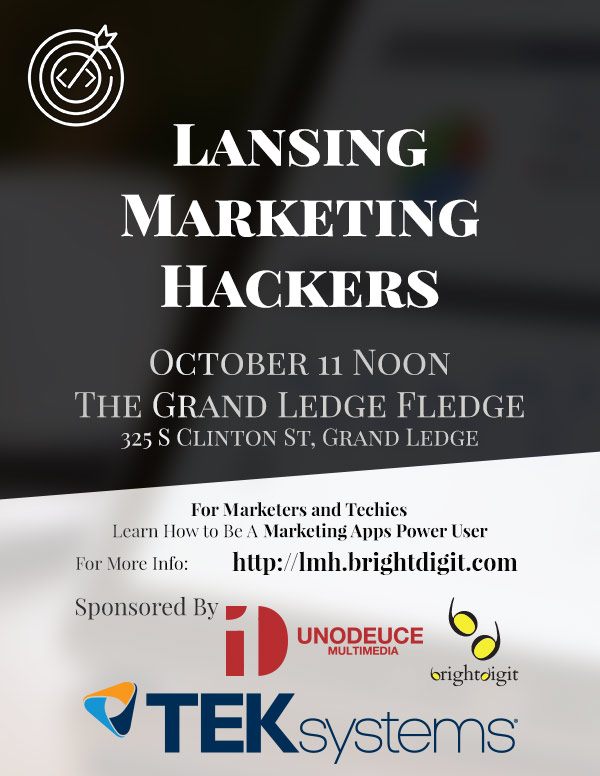 Flyer for October 11th Lansing Marketing Hackers Event