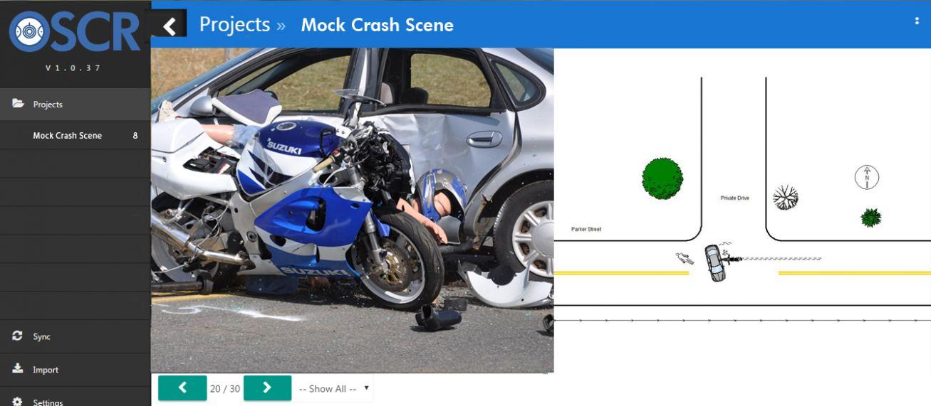 mock crash scene in oscr
