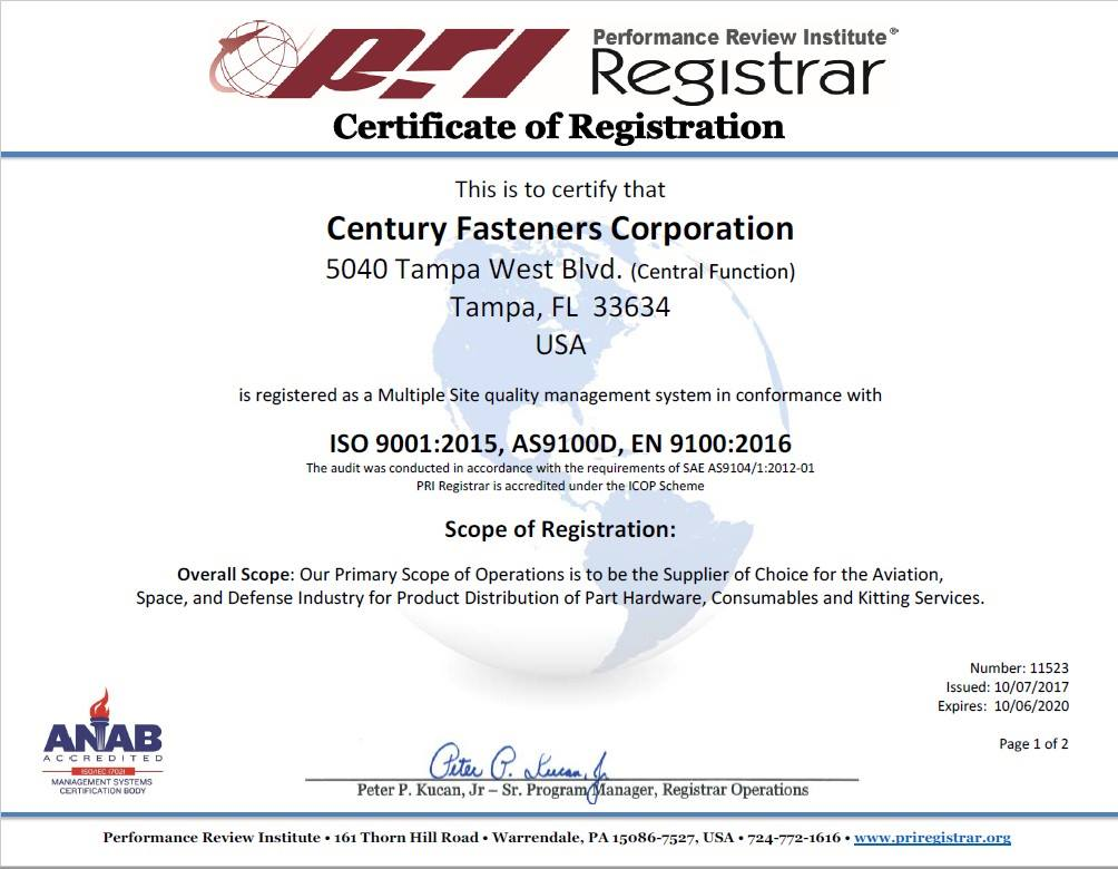 Century Fasteners Corp. Achieves Coveted ISO 9001:2015 and AS9100D Registration