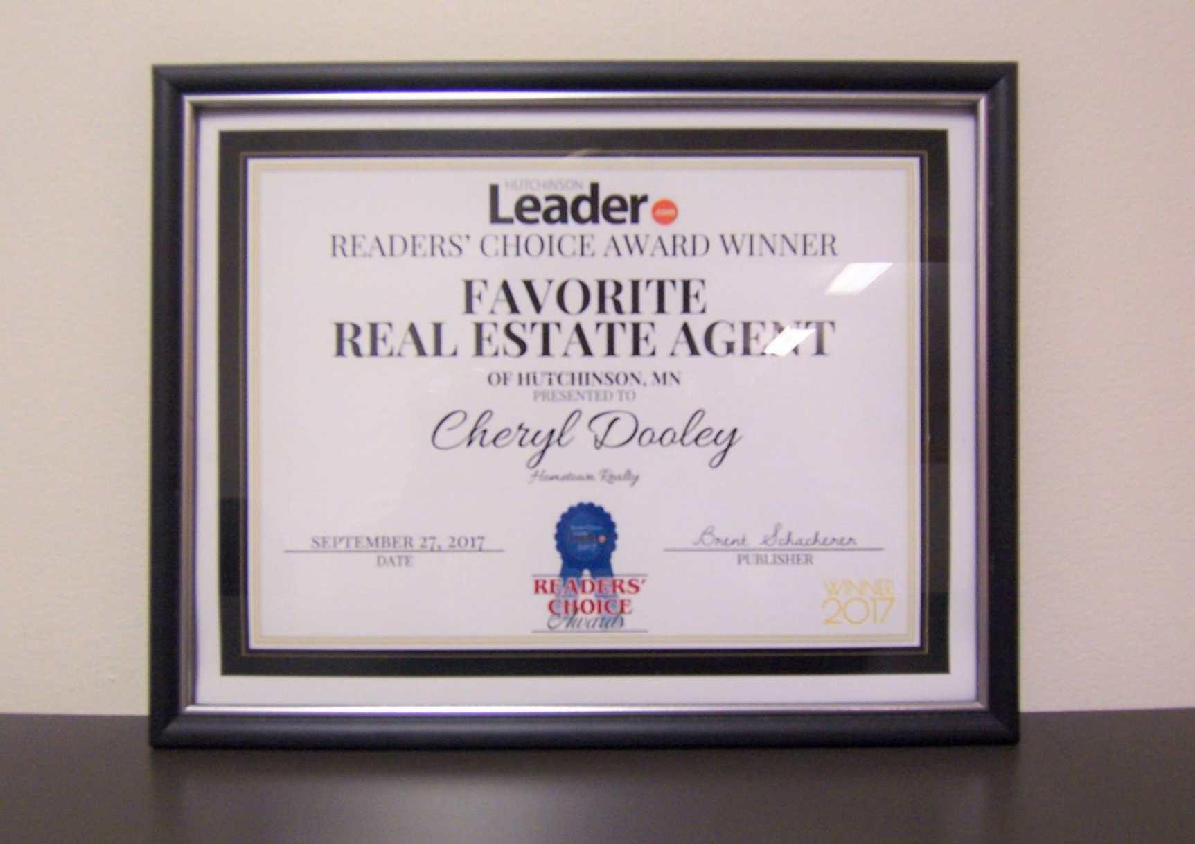 Cheryl Dooley Favorite Real Estate Agent Award