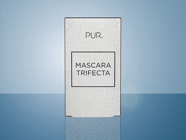The Pür Mascara Trifecta folding carton featues cold foil and embossing.