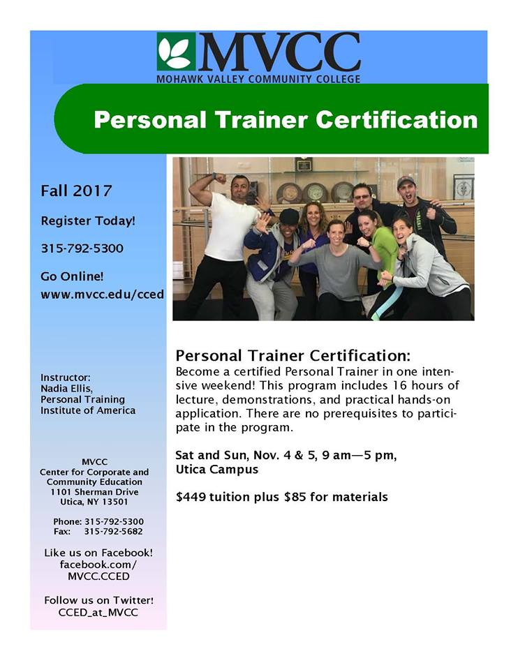Ptia Personal Trainer Certification Hosted At Mohawk Valley