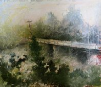 "Patricia Chandler ~ 'Singing Bridge' ~ Mixed Media on Paper 14"" x 12.5"""
