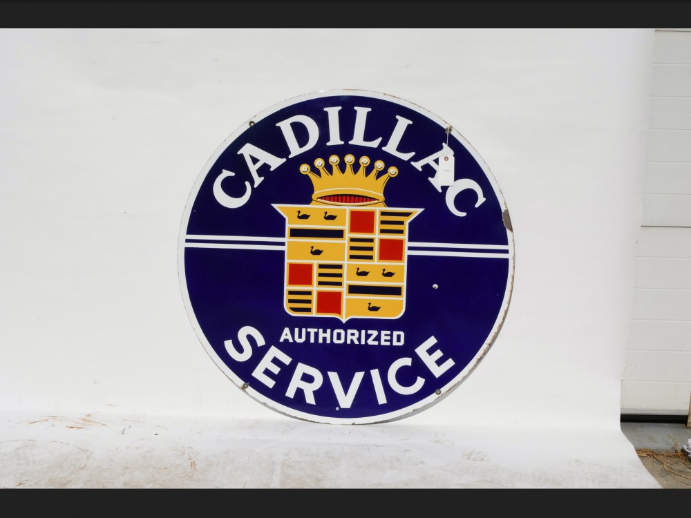 "Cadillac ""Authorized Service"" sign marked ""Walker & Co."" (Detroit) 42 inches sq."