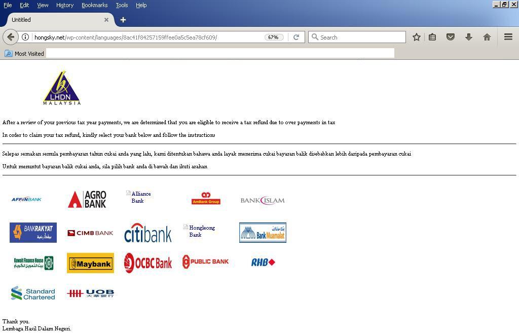 Malaysian Phishing attack