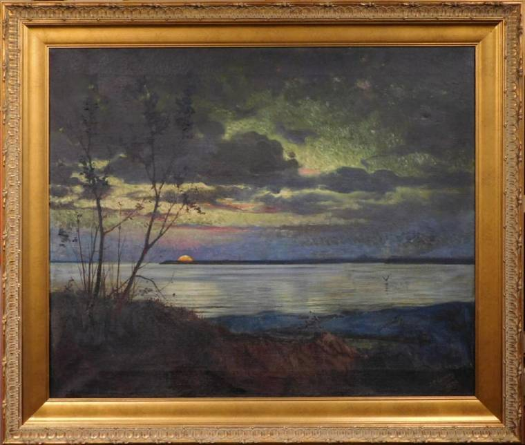 Oil on canvas painting attributed to Hudson River School artist Jasper Cropsey