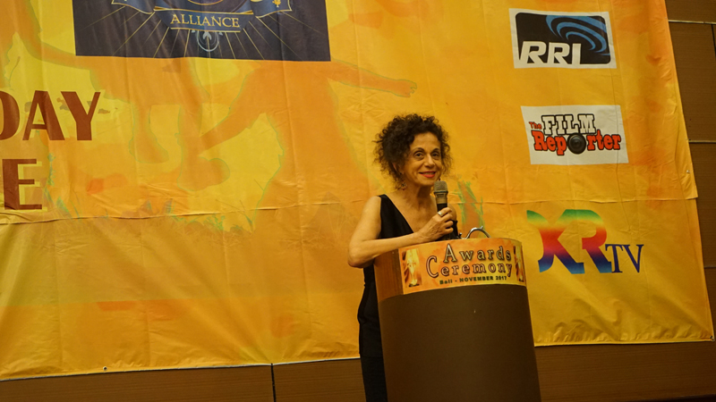 Lucia Barata gave her winning speech at the Awards Ceremony