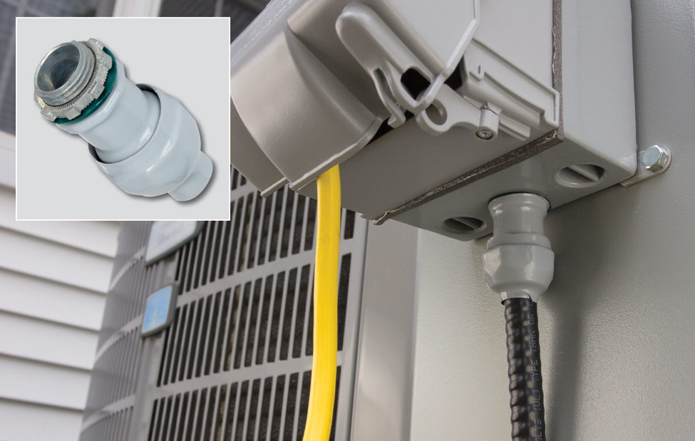 """Bridgeport""""s polyolefin-coated connector offers strong environmental protection"""