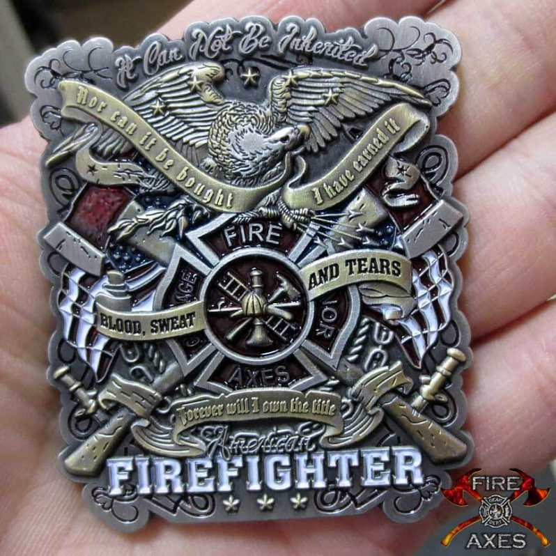 Blood Sweat and Tears Firefighter Coin