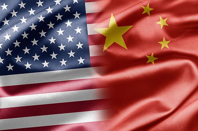 China-America flags