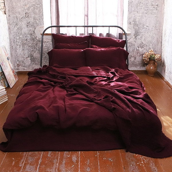 Linen Sheets Wine Red