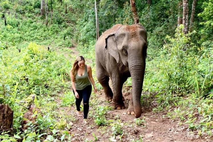 women and elephants